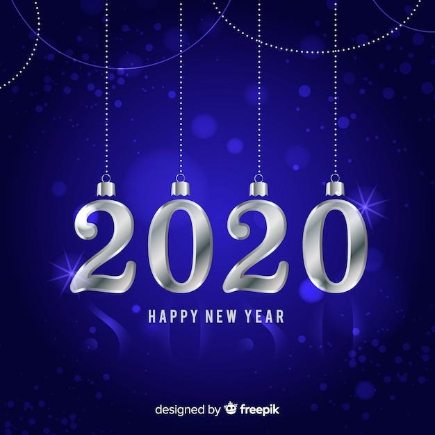 Srebrny nowy rok 2020 Darmowych Wektorów