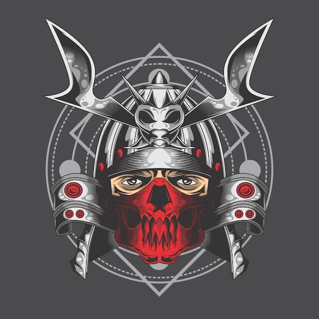 Srebrny samuraj Premium Wektorów