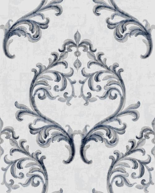 Srebrny Wzór Tekstury Rokoko Z Kwiatowymi Ornamentami Darmowych Wektorów
