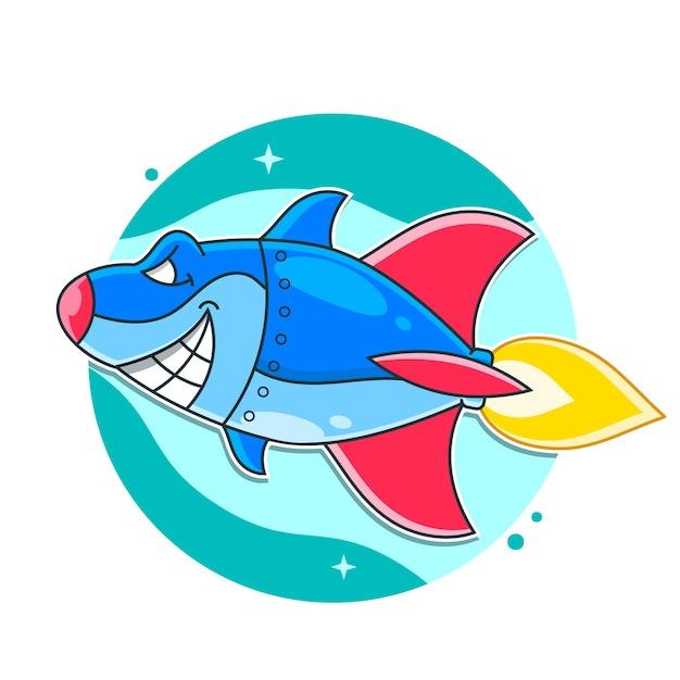 Średni Metalowy Uzbrojony Robot Cyborg Shark Ilustracja Premium Wektorów
