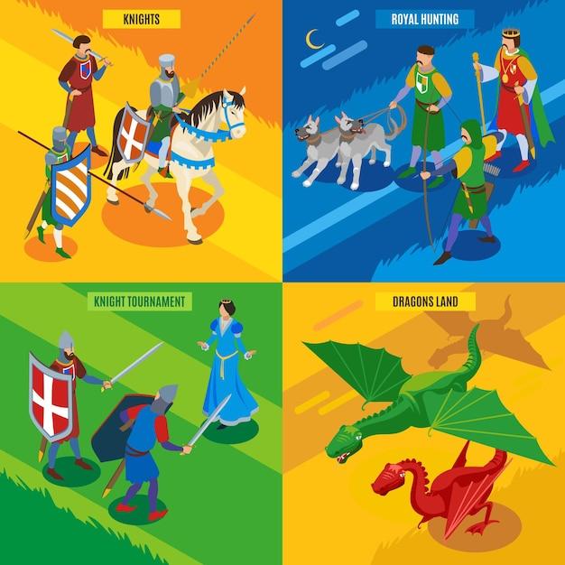 Średniowieczna Koncepcja Izometryczna 2x2 Z Postaciami Smoków Księżniczek Z Zimnymi Wojownikami I Edytowalnym Tekstem Darmowych Wektorów
