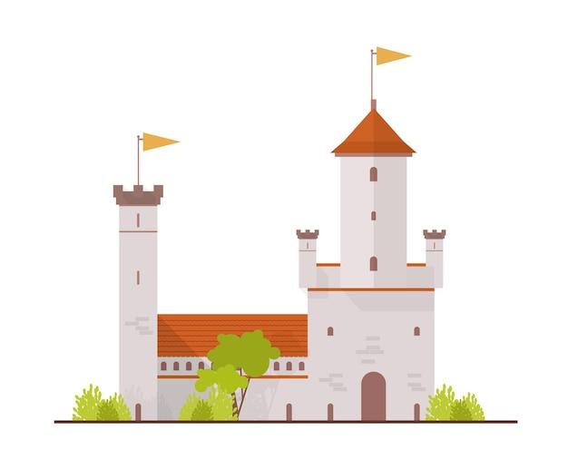 Średniowieczna Twierdza I Brama Na Białym Tle Premium Wektorów