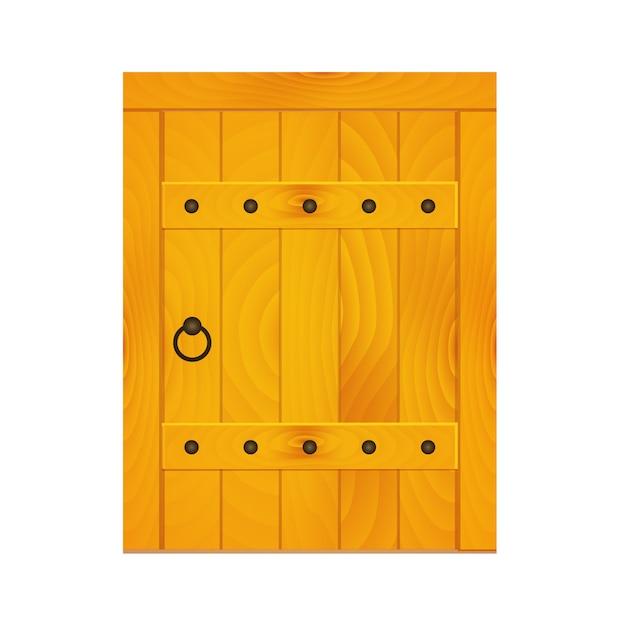 Średniowieczne drewniane drzwi Premium Wektorów