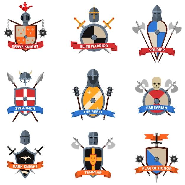 Średniowieczne rycerze herby płaskie zestaw ikon Darmowych Wektorów