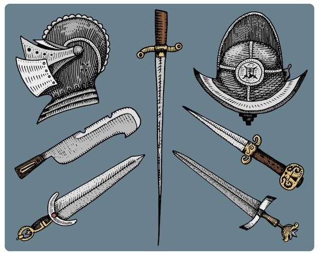 Średniowieczne Symbole, Hełm I Miecze, Vintage Nóż, Grawerowane Premium Wektorów