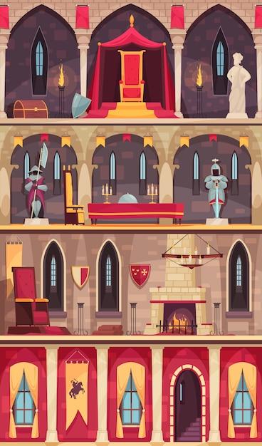 Średniowieczne Wnętrze Zamku 4 Płaskie Banery Ustawione Z Jadalnią Sali Balowej Sali Sali Tronowej Na Białym Tle Darmowych Wektorów