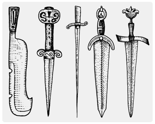 Średniowieczny Zestaw Symboli Duży Miecze Premium Wektorów
