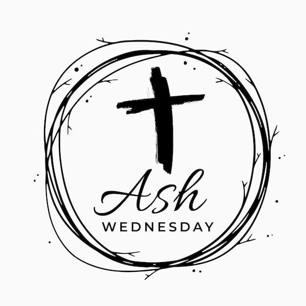 Środa Napis Ash Z Czarnym Krzyżem Darmowych Wektorów