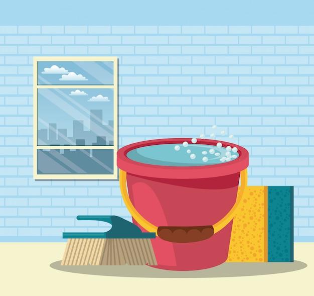 Środki czyszczące do domowych kreskówek Darmowych Wektorów