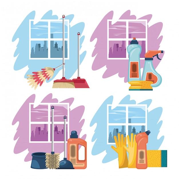 Środki czyszczące do domu Darmowych Wektorów