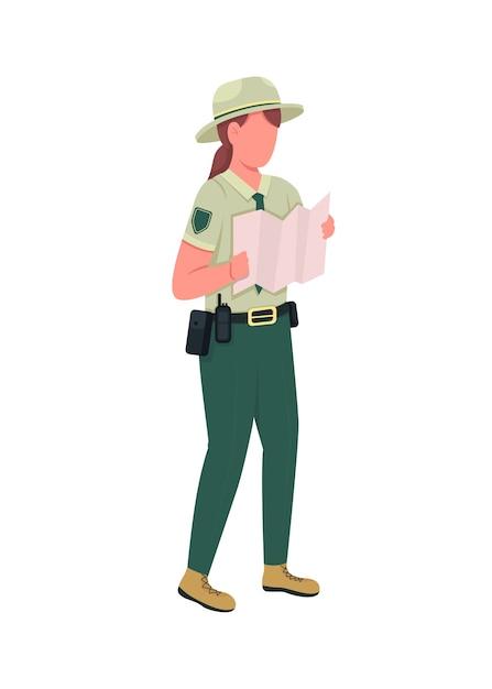 Środowiskowy Policjantka Płaski Kolor Bez Twarzy. Strażnik W Mundurze Z Mapą. Egzekwowanie Prawa Kobieta Na Białym Tle Ilustracja Kreskówka Do Projektowania Grafiki Internetowej I Animacji Premium Wektorów