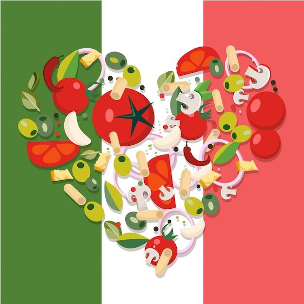 Śródziemnomorskie Produkty Spożywcze W Kształcie Serca Premium Wektorów