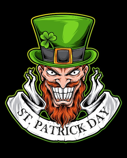 St patrick day scary logo Premium Wektorów