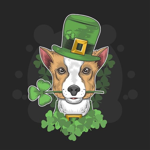 St patrick's day cute dog Premium Wektorów
