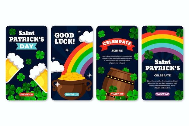 St Patrick's Day Flat Design Instagram Historie Darmowych Wektorów