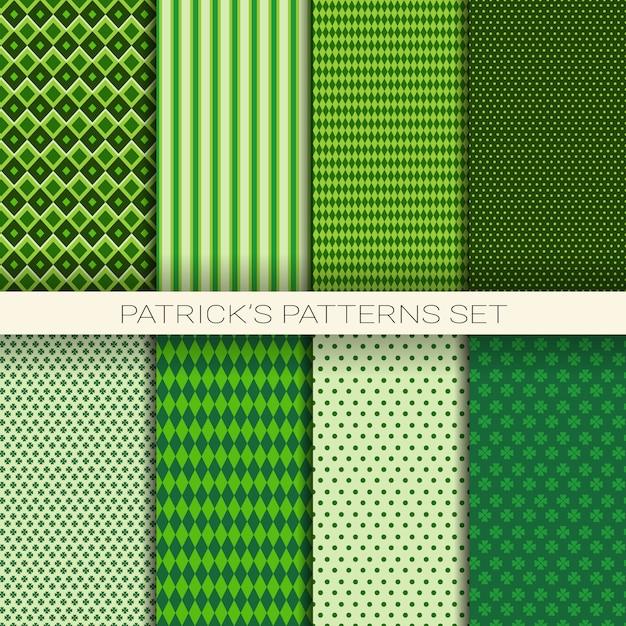 St. Patrick's Day Wzór Zestaw Zielone Tło Z Liści Koniczyny Lub Koniczyny Premium Wektorów
