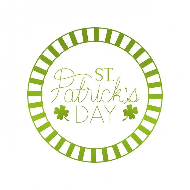 St patrick `s dzień etykieta ikona koniczyna na białym tle Premium Wektorów