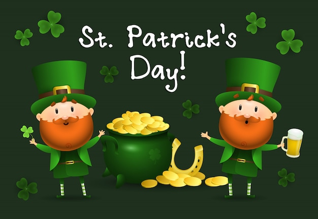 St patricks day napis z leprechauns i garnek złota Darmowych Wektorów
