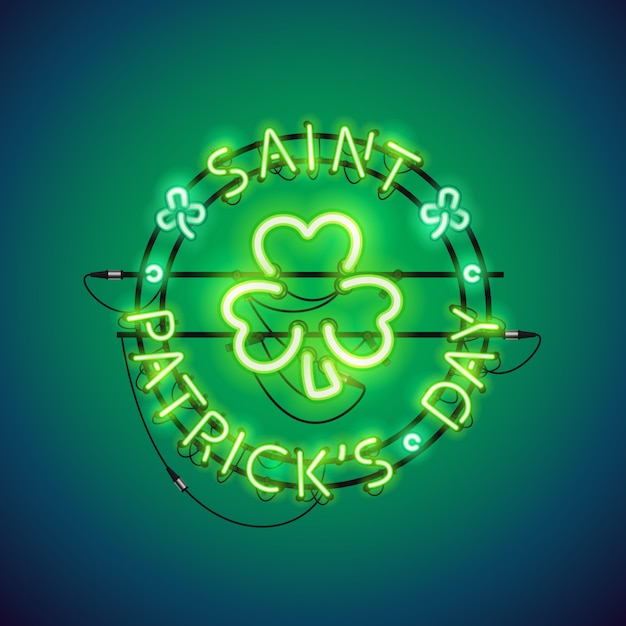 St patricks day neon sign Premium Wektorów