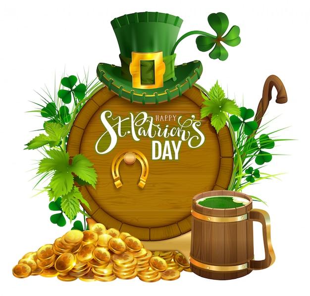 St. Patricks Day Party Tekst Kartkę Z życzeniami. Złote Monety, Drewniana Beczka I Kufel Piwa, Złota Podkowa, Kapelusz I Liście Koniczyny Premium Wektorów