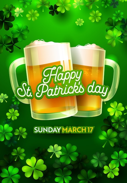 St Patricks Day Vintage Pionowy Projekt Plakatu Z Szklanką Pełną Piwa Ilustracji Premium Wektorów