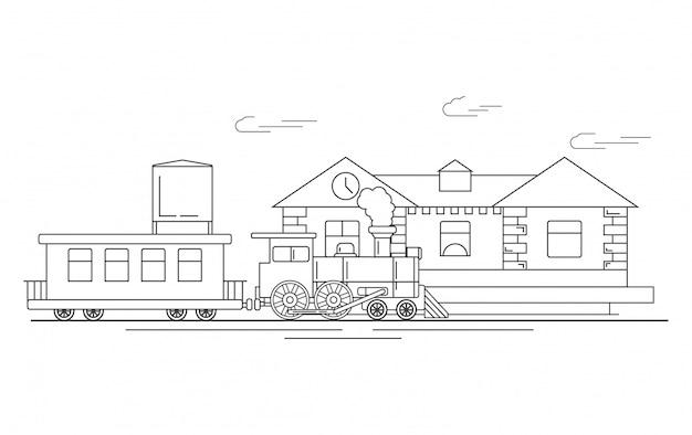 Stacja Kolejowa Z Lokomotywą Parową I Wagonami Premium Wektorów