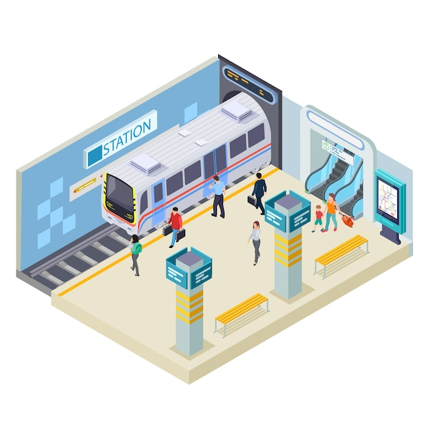 Stacja Metru Ilustracja Na Bielu Premium Wektorów