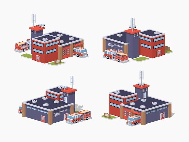 Stacja Przeciwpożarowa Low Poly Premium Wektorów