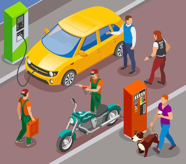 Stacje Benzynowe Uzupełniają Skład Izometryczny Kolumnami Benzynowymi Do Samochodów I Motocykli Z Postaciami Ludzi Darmowych Wektorów