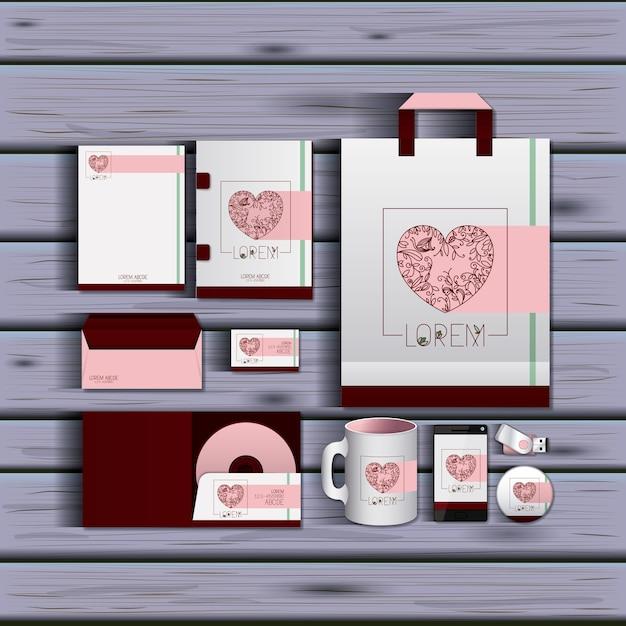 Stacjonarne Szablony Romantycznej Daty Dokumentacji Premium Wektorów