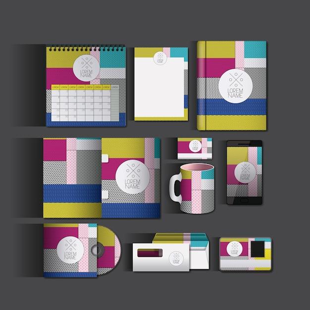 Stacjonarne Szablony Z Kolorowymi Farbami Biznesowymi Premium Wektorów