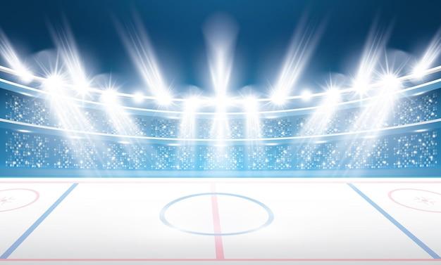 Stadion Hokejowy Z Reflektorami. Premium Wektorów