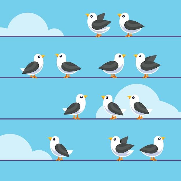 Stado Ptaków Siedzących Na Drutach Darmowych Wektorów