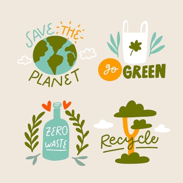 Stań Się Zielony I Uratuj Odznaki Ekologiczne Darmowych Wektorów