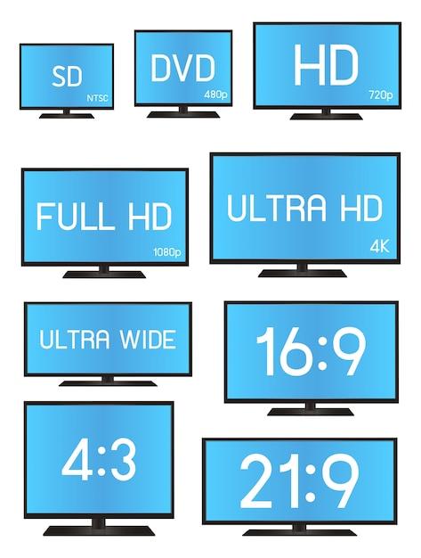 Standardowy rozmiar rozdzielczości telewizora Premium Wektorów