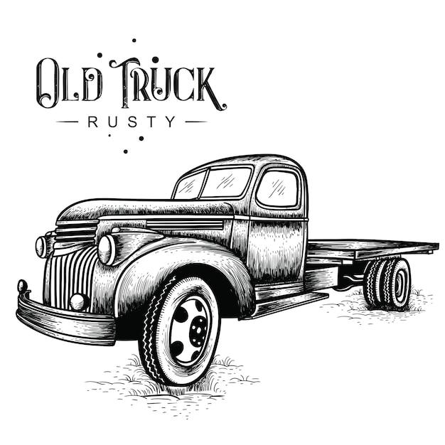Stara ciężarówka zardzewiała Premium Wektorów
