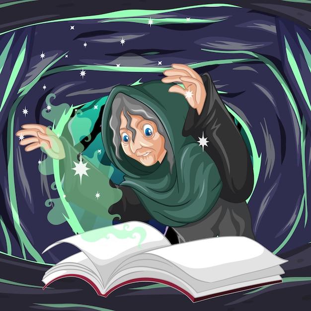 Stara Czarownica Z Zaklęcia I Książki Stylu Cartoon Na Tle Ciemnej Jaskini Darmowych Wektorów