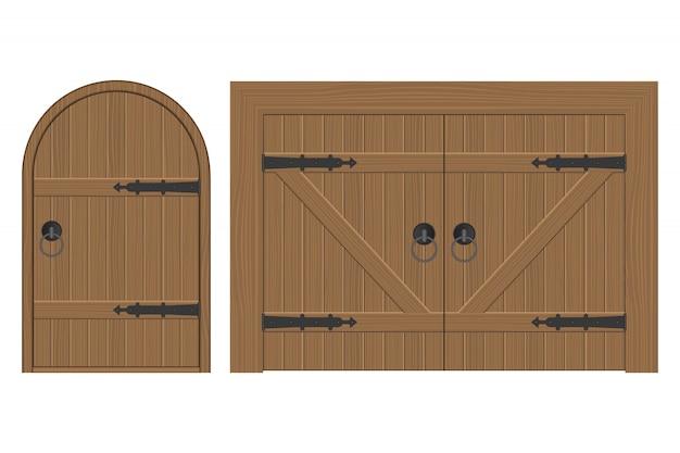 Stara Drewniana Drzwiowa Ilustracja Odizolowywająca Na Bielu Premium Wektorów