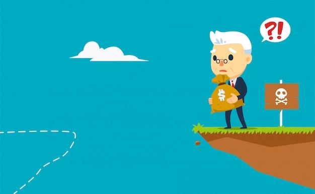 Stara firma nie ma dokąd pójść, trzymając worek pieniędzy. ilustracji wektorowych Premium Wektorów