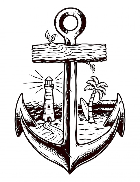 Stara Ilustracja Kotwicy I Plaży Premium Wektorów