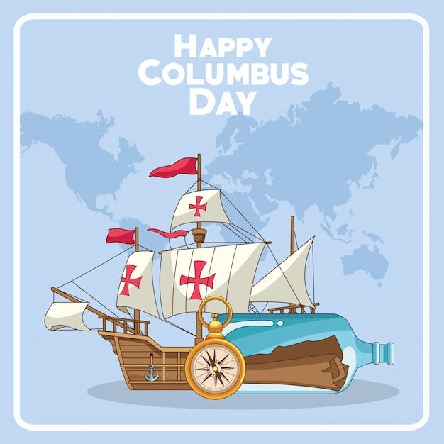 Stara Karawela I Projekt Happy Columbus Day Premium Wektorów