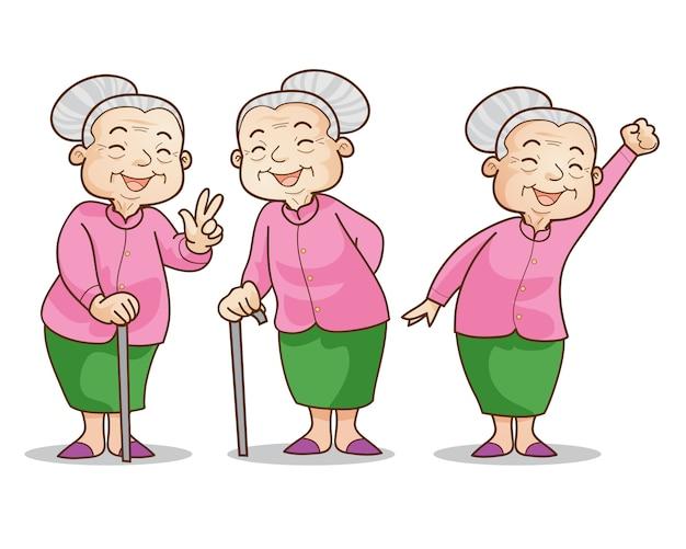 Stara Kobieta łagodna Premium Wektorów