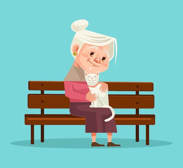 Stara Kobieta Postać Trzymać Postać Kota Siedzącego Na ławce Premium Wektorów