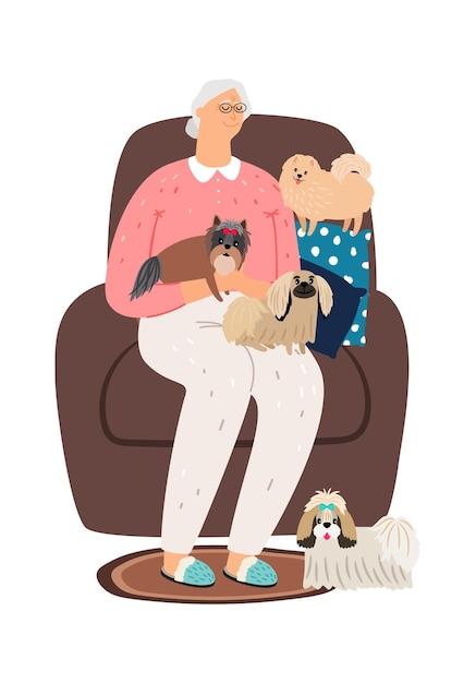 Stara Kobieta Siedzi Na Krześle Z Małymi Psami. Premium Wektorów