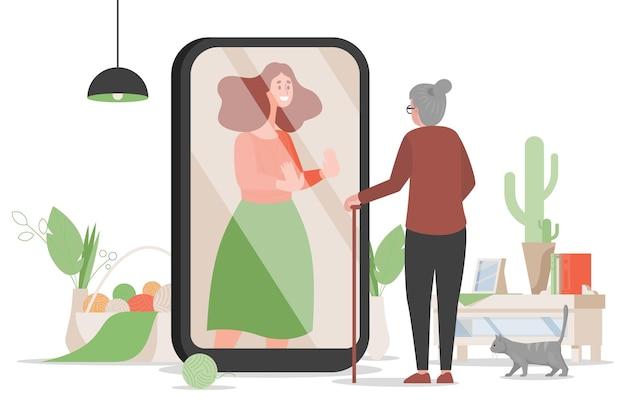 Stara Kobieta Stojąca W Pobliżu Ekranu Telefonu Komórkowego I Rozmawiać Z Ilustracją Córki Premium Wektorów