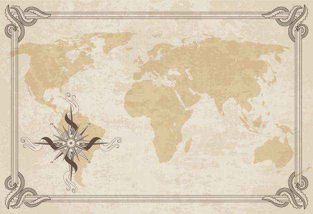 Stara Mapa świata. Tekstury Papieru Z Obramowaniem. Premium Wektorów
