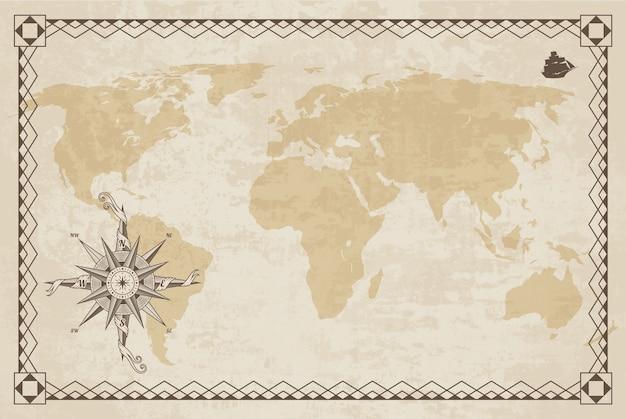 Stara Mapa świata Z Tekstury Papieru I Ramki Granicznej. Róża Wiatrów. Vintage Kompas Morski. Premium Wektorów