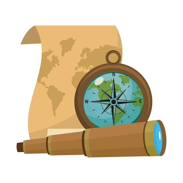 Stara Mapa Z Kompasem I Jednookularowymi Narzędziami Premium Wektorów