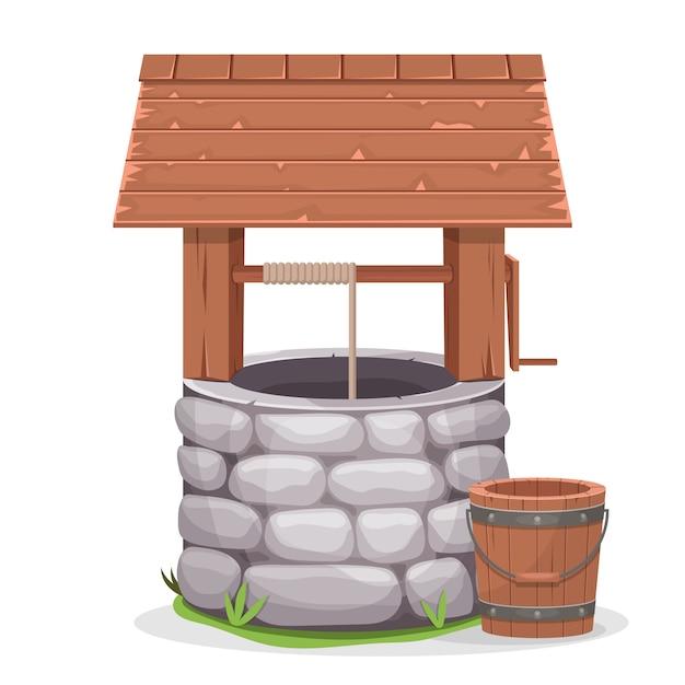 Stara Wody Well Ilustracja Na Białym Tle Premium Wektorów