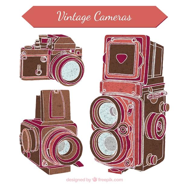 Stare aparaty fotograficzne szkice Darmowych Wektorów